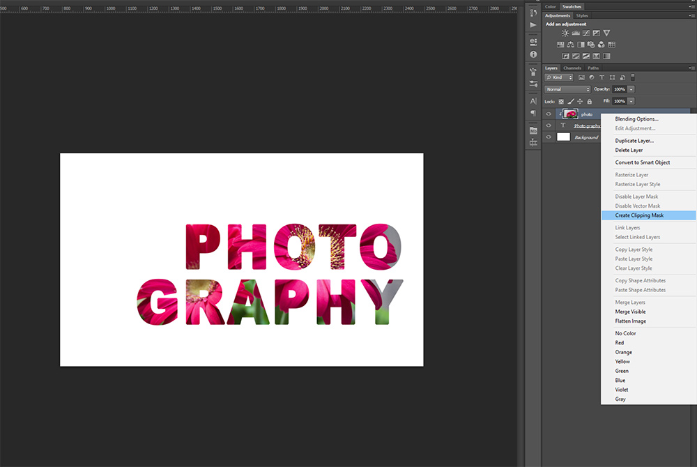 Photo-filled Text Tutorial