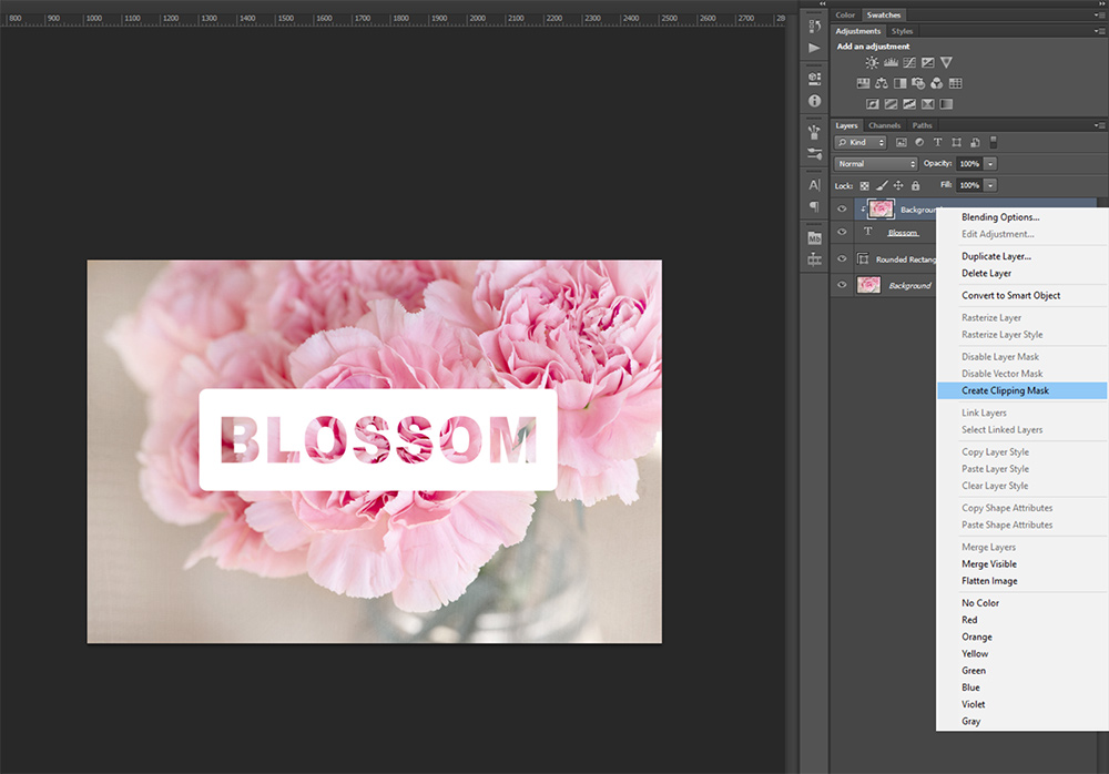 Photo-filled Text in Photoshop