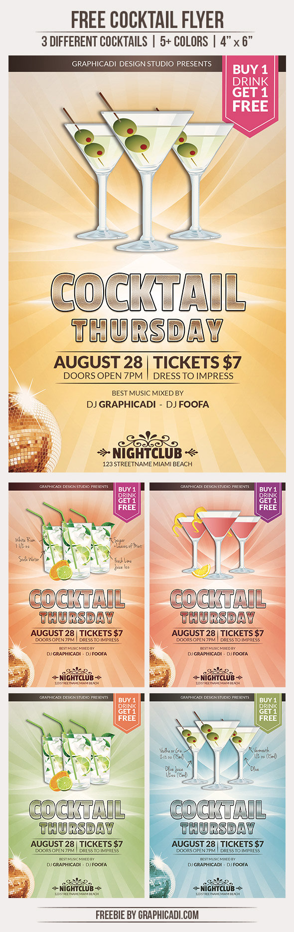 Free Cocktail Flyer Template