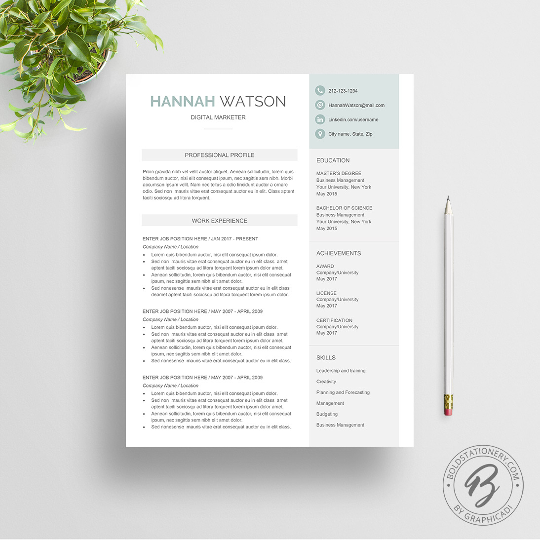 Resume Template Hannah  Graphicadi