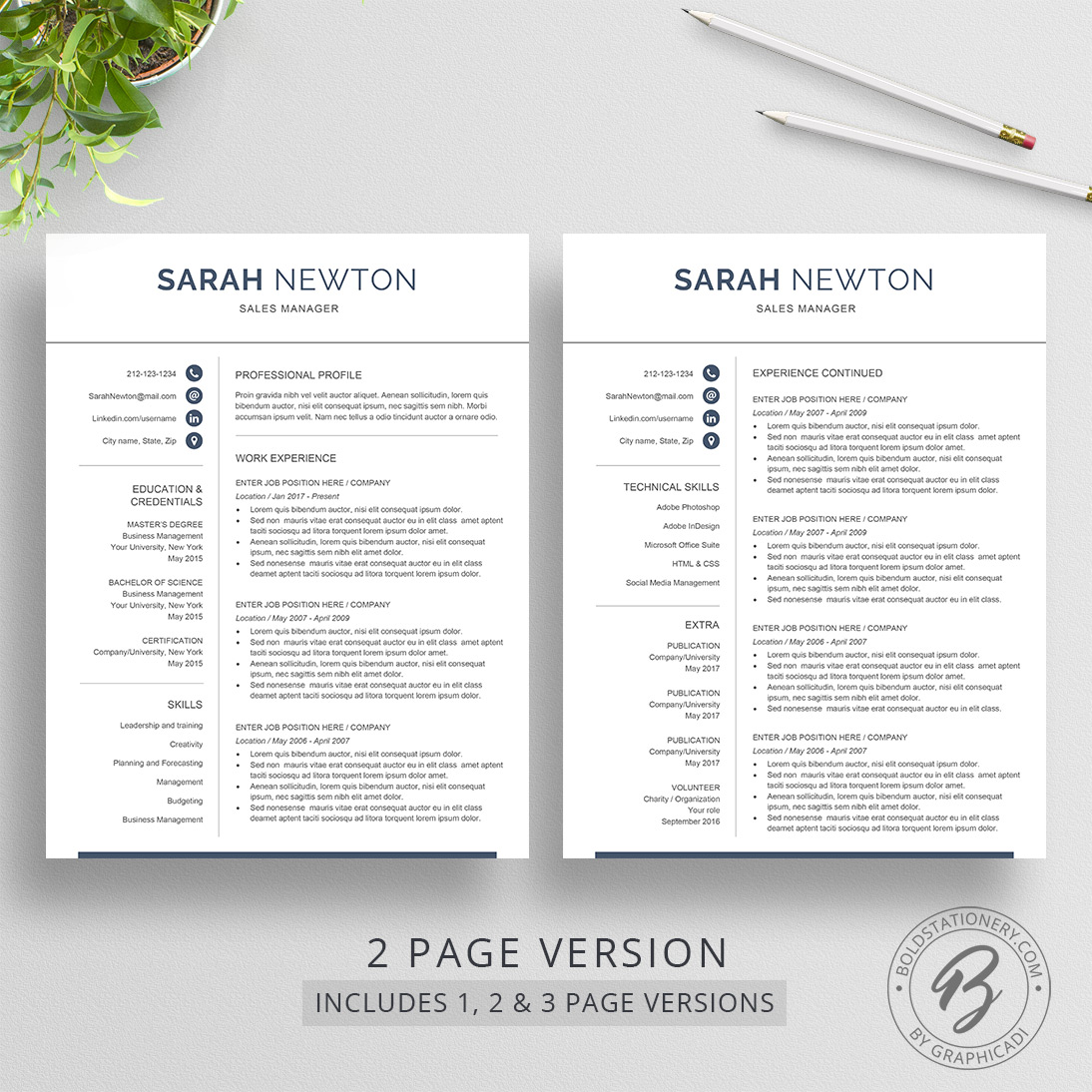 1 2 and 3 page resume template - 2 Page Resume Template
