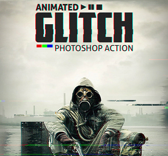 Animated glitch Photoshop action