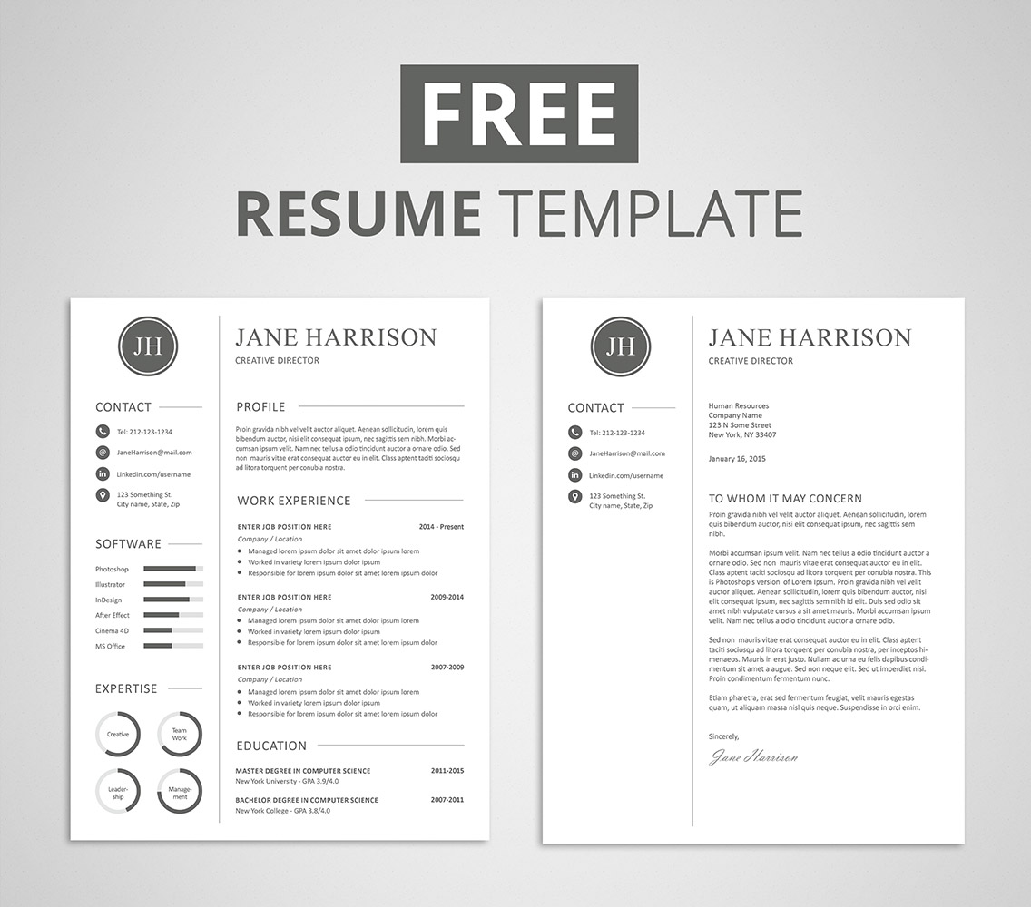 Free resume template and cover letter graphicadi for Free reume templates