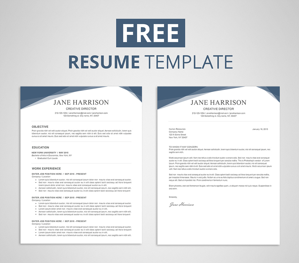 Free Sample Resume Templates Examples: Free Resume Template For Word & Photoshop