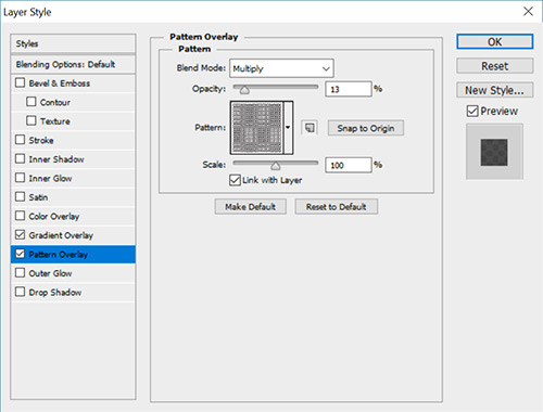 Select The Halftone Heavy M Pattern See Name By Hovering Over Patterns Set Blend Mode To Multiply Opacity 13 And Leave Scale