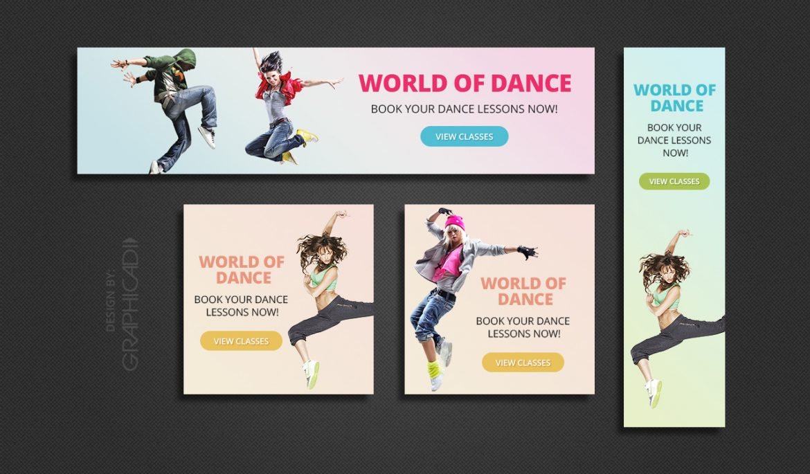 4 colorful dance themed web banners graphicadi